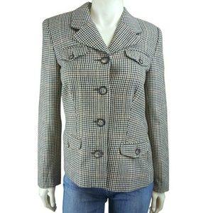 Boston Proper Blazer Jacket Wool Blend Plaid